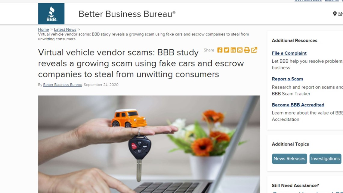 BBB warning: sellers are scamming buyers when sale goes off site