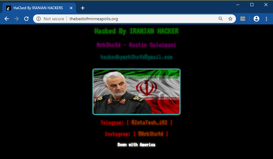 US prices two hackers for defacing US web sites following Soleimani killing